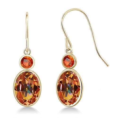 Gem Stone King 2.86 Ct Oval Ecstasy Mystic Topaz Orange Sapphire 14K Yellow Gold Earrings