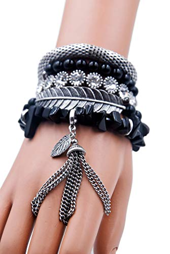Aris Huge Stack Bohemian Beaded & Charm Stretch Bracelet Bundle: Bangles & Bag (Bohemian Silvertone) -