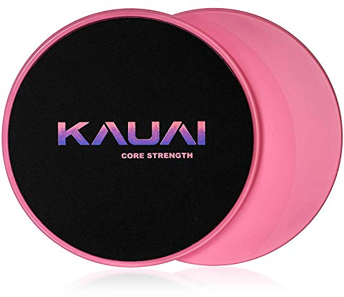 (KAUAI Core Sliders Fitness Workout. Two Sided, Strength Gliders for Use on Carpet or Hard Floors - Fitness Equipment Floor Slides for Abs Full Body Training - 2 Discs & Carry Bag (Dance Pink))