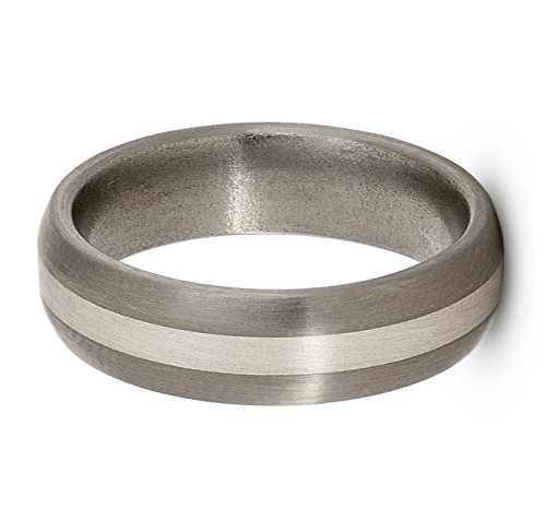 Satin Brushed Titanium, Sterling Silver 6mm Comfort-Fit Dome Wedding Band, Size 11 by The Men's Jewelry Store (Unisex Jewelry) (Image #1)