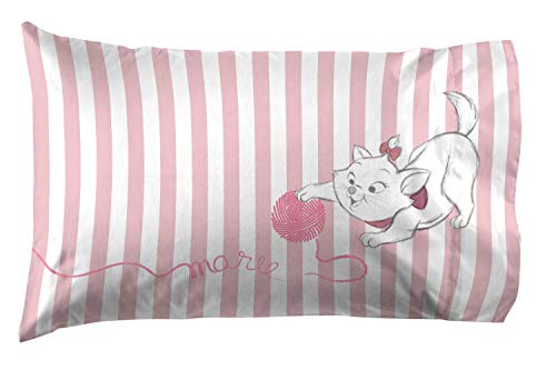 Jay Franco Disney Aristocats Marie Cat & Yarn 1 Pack Pillowcase - Double Sided Kids Super Soft Bedding (Official Disney Product)