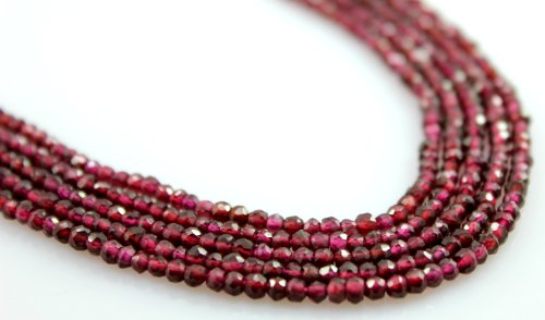 (Garnet Rhodolite Beads 3mm Natural Faceted Gem Rondelle Gemstone Shape Briolette Necklace)