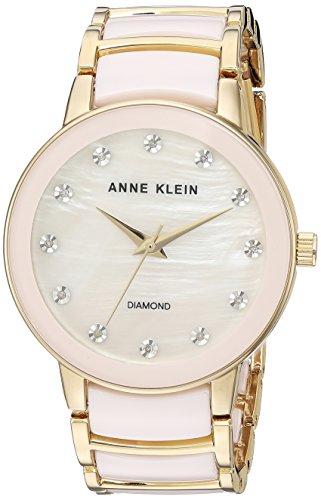 - Anne Klein Women's AK/2672LPGB Diamond-Accented Gold-Tone and Blush Pink Ceramic Bracelet Watch