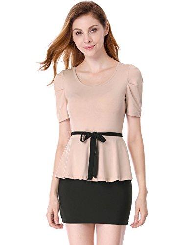 難しい保守可能いつでも[Allegra K] ドレス ワンピース スクープネック 半袖 フォーマル ミニ ベルト付き レディース ブラック ピンク XS