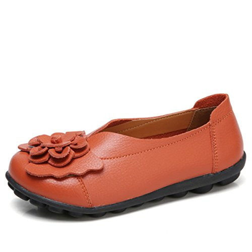 Socofy Leather Decoration Flat Slip Women's Flower Shoes Outdoor On Lazy Orange Loafers Soft Handmade Casual Zr8rE