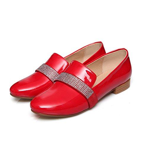 VogueZone009 Damen Rund Schließen Zehe Niedriger Absatz Pumps Schuhe mit Beschlagene Strass Rot