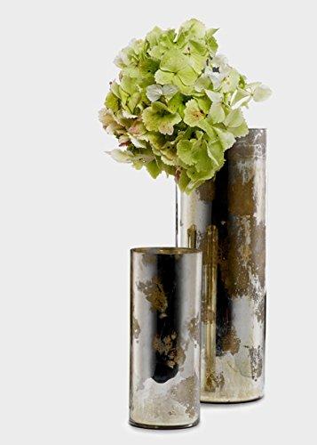 Pewter Mercury Glass Cylinder Vases Set of 2
