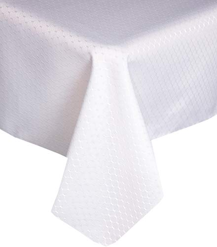 - Lintex Chelton Beehive Weave Jacquard Fabric Tablecloth Easy Care Stain Resistant and Water Repellent Indoor and Outdoor Solid Color Tablecloth - 60 Inch X 102 Inch Oblong/Rectangular, White