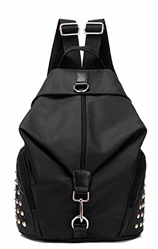 Fashion Daypack Tsmbh180722 Backpacks Black Nylon Backpacks Women Casual Hiking Aalardom fqz5Zxtw5