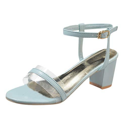 Women's Pump Heel Sandals, Toe Ankle Strap Chunky Block Sandal Fashion Party Shoes Blue