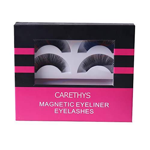 CARETHYS Upgraded Magnetic Eyeliner Eyelashes Kit, Waterproof Magnetic Liquid Eyeliner With 2 Pair Long Thin Magnetic False Eyelash,Natural Look,With Tweezers (2 Pair)