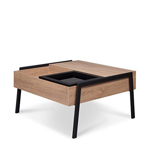 Acme Furniture 83885 Fakhanu Rustic Black Coffee Table with Lift Top, Natural