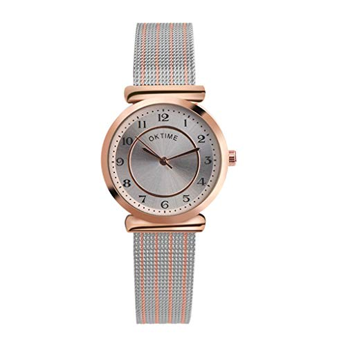 Odrongren Ladies Analog Quartz Wrist Watches with Mesh Stainless Steel Band Big Two-Tone Dial Dress Ladies Thin Watch Simple LuxuryWrist Watch Quartz Rose Gold Watch Crystal Silver Rose ()