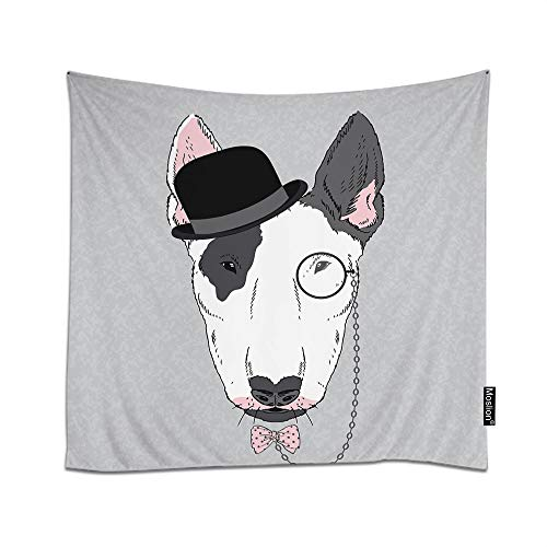 Moslion Bull Terrier Tapestry Hand Drawn Fashion Portrait Animal Dog Monocle Face Cool Hat Tie Wall Hanging Tapestry for Living Room Bedroom Dorm Home Decorative Polyester 80W x 60H