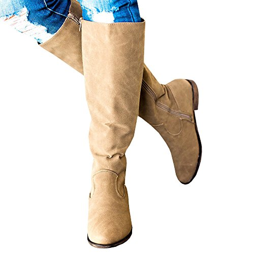 69b265f8226 Womens Winter Chelsea Knee High Boots Buttons Chunky Block Stacked Mid Heel  Zip Up Boots