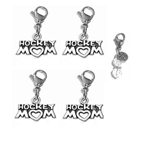 Price comparison product image Hidden Hollow Beads Set of 4 Clip On Charms,  Bag,  Purse,  Handbag,  Message,  Keychain,  Zipper Pull,  Bracelets,  Necklaces,  Jewelry (Hockey Mom)