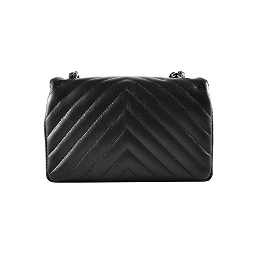 purse body Black soft clutch shoulder chevron Italian chain smooth Small Dark leather leather quilted SINDY metal quilted cross Nickel and YTxp4wq