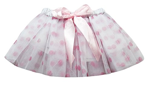 Dress Up Dreams Boutique Tutu/Dance Tutu/Recital Tutu/Play Newborn Polka Dot Tutus with Satin Ribbon Bow-White/Light Pink