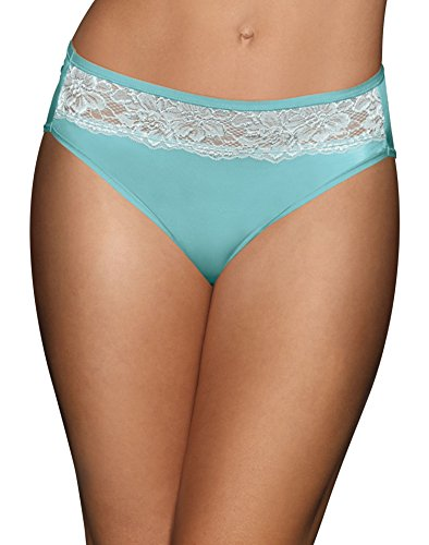 Bali Women's One Smooth U Comfort Indulgence Satin with Lace Hi-Cut Panty, White, 8 (Lace Band Panties)
