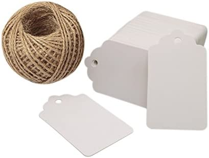 100 PCS Wedding Gift Paper Tags 4CM Brown Kraft Tags Crafts Hang Labels with Jute Twine 30 Meters Long for Christmas Decorations 7CM