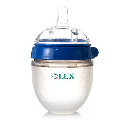 LUX Nature Baby Bottle | Breastfeeding | Nursing | Anti Colic | Feeding Bottles | Infant | Newborn | BPA Free | No Leaking | Blue, 5 ounces