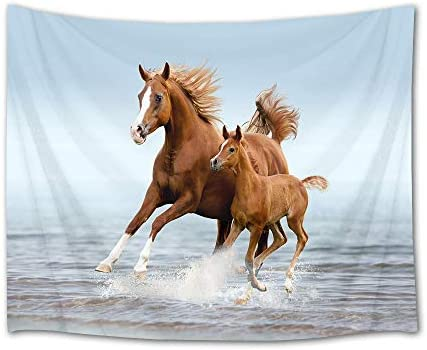 HVEST Galloping Horse Tapestry Horses Running in Sea Water Wall Hanging Animal Tapestries for Bedroom Living Room Dorm Decor,92.5Wx70.9H inches