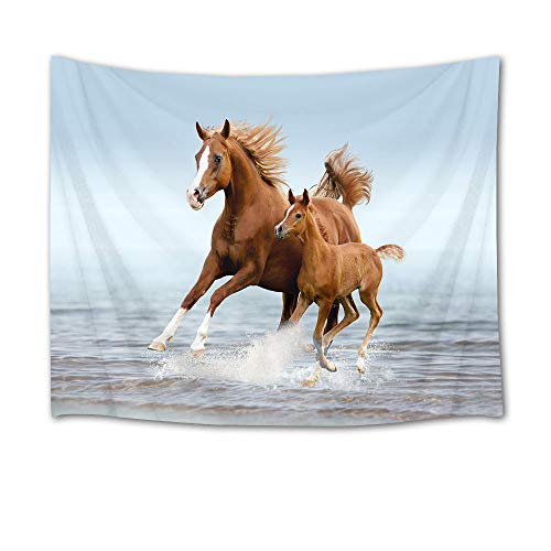 HVEST Galloping Horse Tapestry Horses Running in Sea Water Wall Hanging Animal Tapestries for Bedroom Living Room Dorm Decor,60Wx40H - Horse Hanging