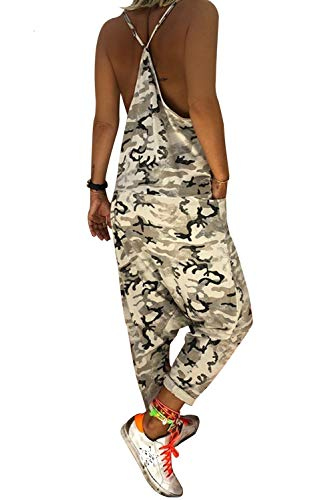 Mujer mangas Pantalones Sin Aibayleef Camuflaje Impreso Correas en Backless Casual V Pantalones militar Harem Blanco Mono Mono Harem Con cuello d8pq4