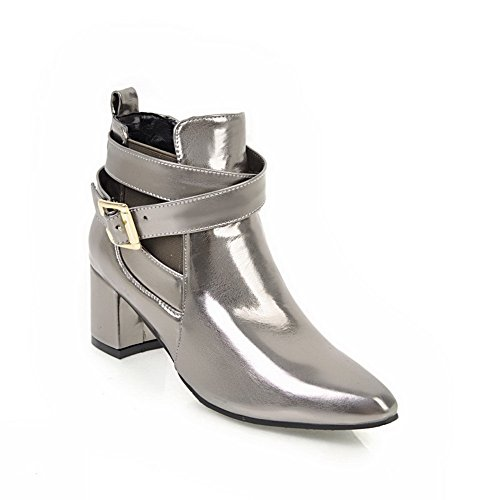 Dress Ankle Silver High Boots Buckles Womens Metal ABL10473 Microfiber BalaMasa qSwF5vIxw