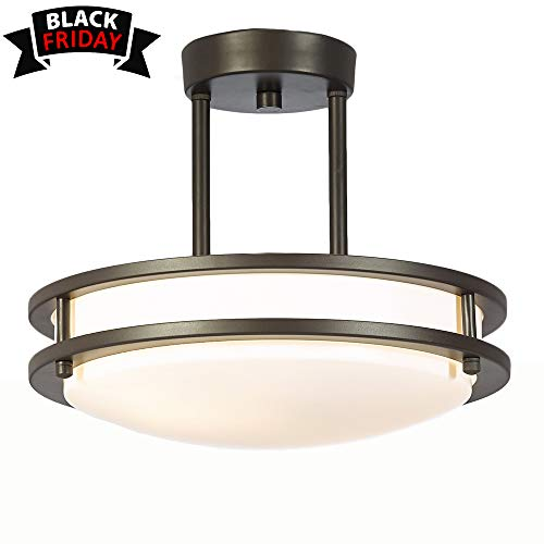 GLANZHAUS Modern 11.8 Inches 2 Lights Oil-Rubbed Bronze Flush Mount Ceiling Light, Chandelier Ceiling Light Fixture for Living Room Bedroom 13W(60W Equivalent)