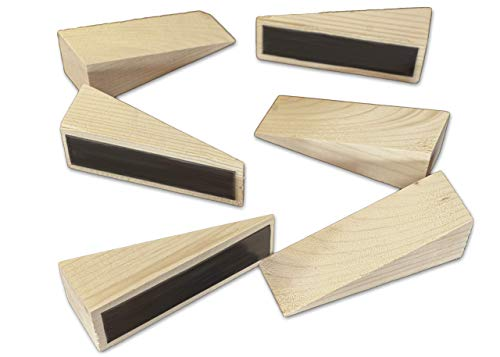 Wooden Doorstopper 6 Pack Non-Slip Multi-Use Handmade Heavy Duty Security Wood Door Stop Rubber Wedges, All Surfaces (Plain)