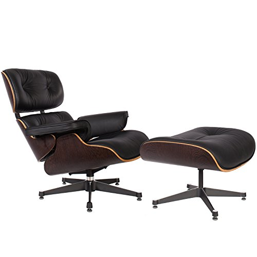 lassic Plywood Design Replica Style Wenge Lounge Chair & Ottoman with Premium High Grade Black PU Leather (Eames Lounge Ottoman)