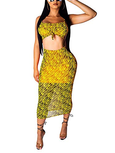(Two Piece Skirt Outfits for Women Zebra Print Crop Top + Bodycon Midi Skirt 2 Piece Dress Set Summer Outfits Yellow)