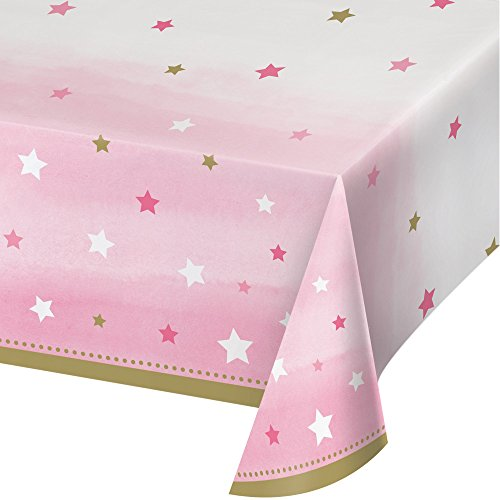 Creative Converting 322255 One Little Star-Girl All Over Print Plastic Table Cover Tablecover, 54
