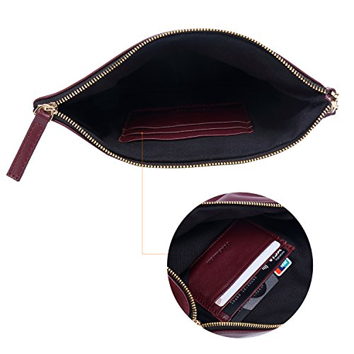 Women Genuine Leather Strap With Wristlet for Soft Wallets Designer Red Lambskin Wine Clutch Large RYw4g