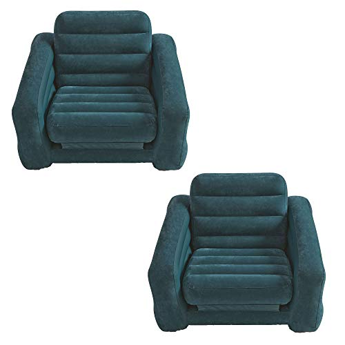 Intex Inflatable Pull Out Chair and Twin Bed Air Bed Mattress Sleeper (2 Pack)]()