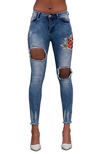 Rose mujer Blue para Vaqueros Ripped Jeans LustyChic XfwPaqAxnC