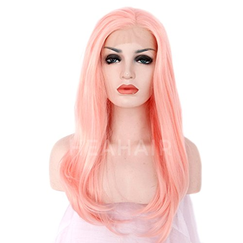 Heahair Fashion Affortable New Style Pink Color Handtied Synthetic Lace front Wig for Cosplay(Pale pink) by Heahair (Image #1)