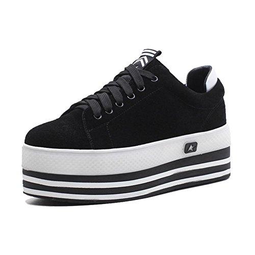 KJJDE Zapatos con Plataforma Mujeres WSXY-A2802 Zapatos de Encaje Correa De Sujeción negro