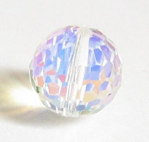 (1 pc Swarovski Crystal 5003 Round Disco Ball Bead Clear AB 14mm / Findings / Crystallized Element)