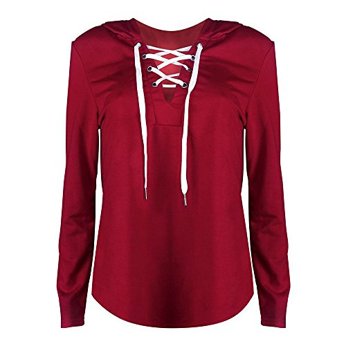 Femme Manches Uni Col wuayi Blouson Rond Red Longues Chemisier nXaqxvTP0