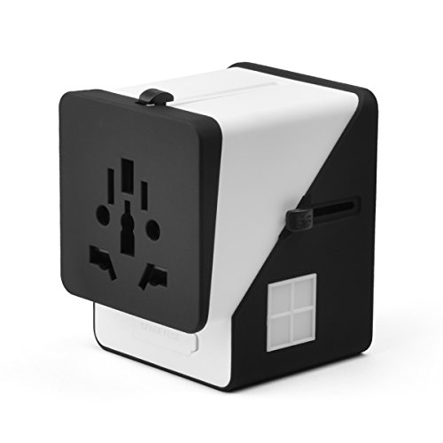 SinFoxeon Universal Travel Adapter All in one with 3 USB 1 Type-C Port and UK/AU/US/EU/Asia Worldwide AC Outlet Plug