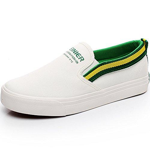 Resistente Espadrillas Nastri da Bianco Uomo Con Tela Jamron Scarpe Comfort amp;verde Ginnastica Moda Scivolare Su wpSTzFxPq7