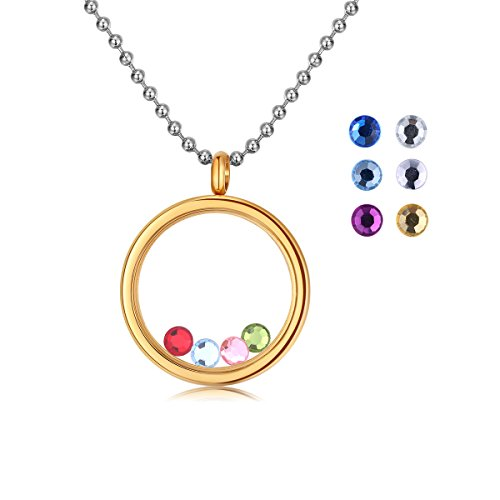 Turantu ♥Gift for Women♥ Charm Living Memory Floating Round Locket Pendant Necklace, Stainless Steel Toughened Glass Free Chain-Gold ()