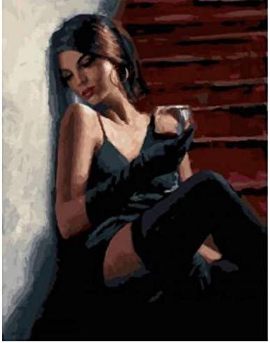 Mujer Borracha Sentada En Las Escaleras Pintura De Bricolaje Por Números Pintura Acrílica Sobre Lienzo Arte Moderno De Pared Imagen Para Colorear Sin Marco 40X50Cm: Amazon.es: Hogar