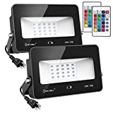 Onforu 2 Pack 35W RGB LED Flood Lights with Remote Control, IP66 Waterproof Dimmable Color Changing Floodlight, 16 Colors 4 Modes Wall Washer Light, Outdoor Decorative Garden Stage Landscape Lighting
