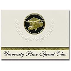 Signature Announcements University Place Special Educ (University Pla, WA) Graduation Announcements, Presidential Elite Pack 25 Cap & Diploma Seal Black & Gold