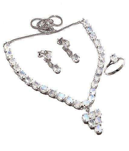 Be You plaqué blanc élégant arc-lune diamant pierre regard argent rhodié boucle d'oreille et collier ensemble sterling pour les femmes