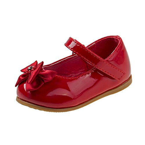 Red Patent Shoes (Josmo Girls Patent Dressy Shoe With Bow, Red, Size 4')