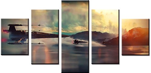 Wowdecor Canvas Prints 5 Pieces Multiple Pictures Wall Art - 5 Panels Spaceships Giclee Pictures Painting Printed on Canvas, Posters Wall Decor Gift - UNFRAMED (Large)